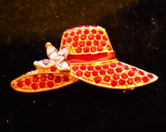 "RED HAT SOCIETY - ""Red Hat with Star Flower"" Rhinestone Pin"