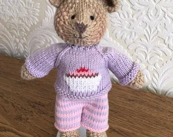Hand Knitted Bear Purple Cupcake