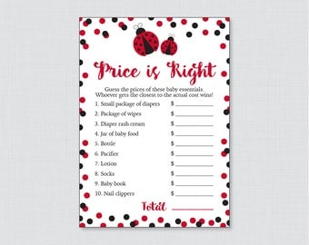 Ladybug Baby Shower Price is Right Game - Printable Baby Shower Game Instant Download - Red Ladybug Price is Right Game - 0050-R