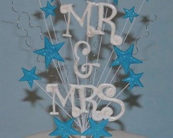 Wedding Cake topper Mr & Mrs stars on wires spray decoration