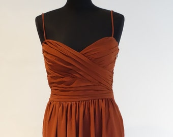 Bronze brown tan strappy gathered bodice summer dress