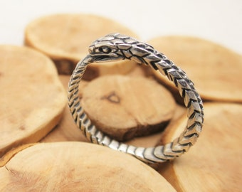 Ouroboros ring snake ring wedding engagement ring sterling silver