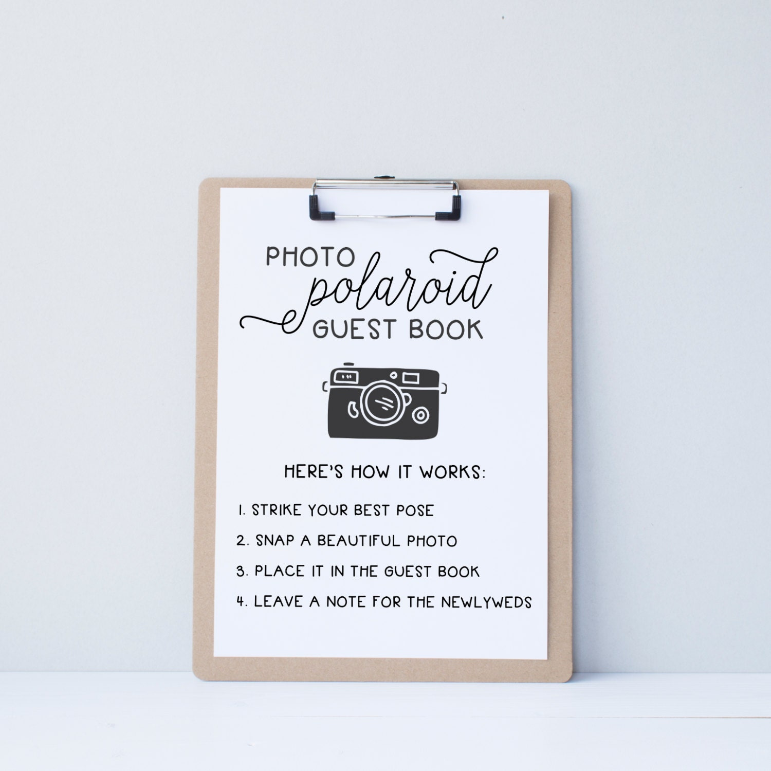Polaroid Guest Book: Wedding Polaroid Guest Book Guestbook Alternative By