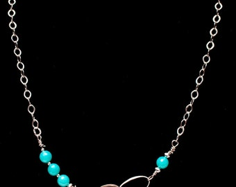 Infinity amazonite necklace, gemstone necklace, sterling silver necklace
