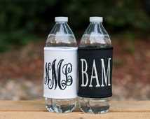 Monogrammed (2) Solid Can Cooler Wrap Set of 2