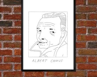 Badly Drawn Albert Camus - Literary Poster