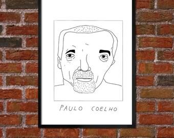 Badly Drawn Paulo Coelho - Literary Poster - *** BUY 4, GET A 5th FREE***