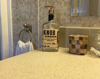 Knob Creek Soap Dispenser with Metal Pump, Kitchen Dispenser, Bathroom Dispenser, Birthday Gift, Mouthwash, Recycled Liquor Bottle
