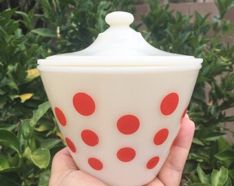 Fire King Red Dots Grease Jar with Lid