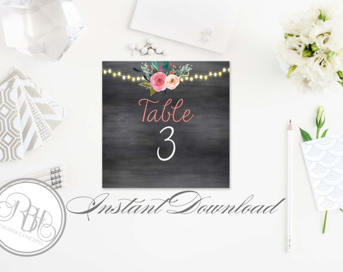 Rustic Chalkboard Table Number Template-INSTANT DOWNLOAD-PDF Editable Text Only-Watercolor flowers with string lights-Teresa