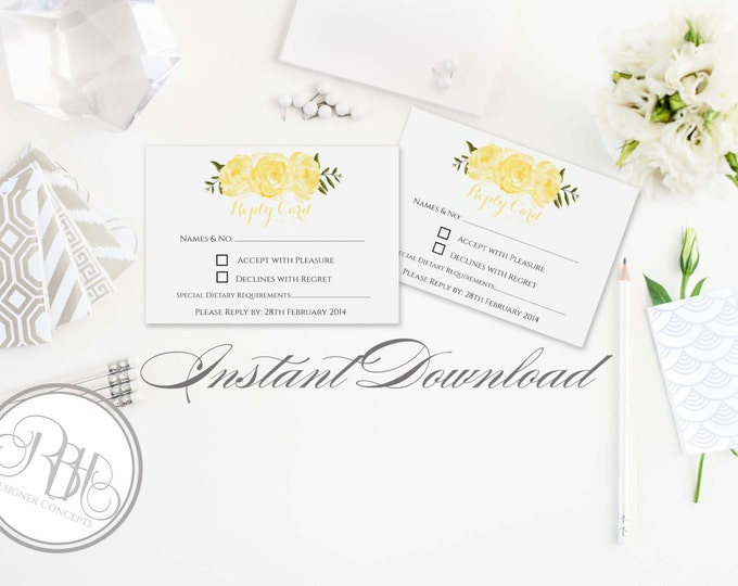 "Wedding RSVP Reply Card Template INSTANT DOWNLOAD-Diy Editable Text- Yellow Roses Peonies Watercolor-""Juliet"""