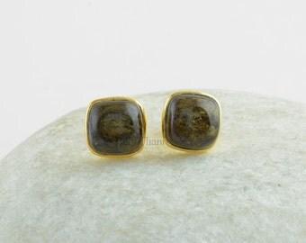 Bronzite Cushion 9x9mm Stud, Handmade 925 Sterling Silver Bronzite Stud Earrings - E7002