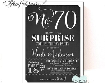 ANY AGES: Surprise 70th Birthday Invitation Women Men Surprise Birthday Invitation Printable No.321BDAY