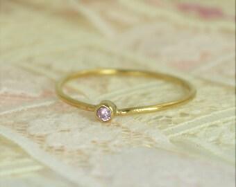 Tiny Pink Tourmaline Ring Set, Solid 14k Gold Wedding Set, Stacking Ring, Solid 14k Gold Tourmaline Ring, October Birthstone, Bridal Set