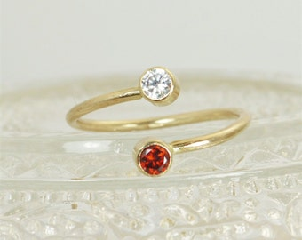 Gold Filled Bypass Ring, Bypass Ring, Wrap Ring, Dual Stone Ring, Couples Ring, two stone ring, mothers ring, mothers jewelry, Unique Ring