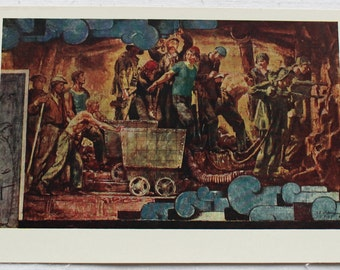 "Sketch of panel for the station ""Komsomolskaya"". Vintage Soviet Postcard - 1960. Sovetskiy hudozhnik. People, Men, Women, Workers"
