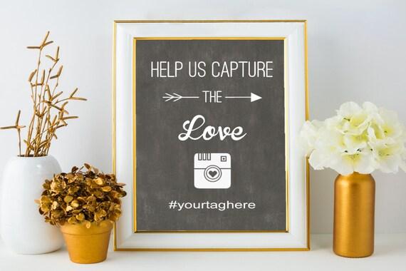 Charcoal wedding hashtag sign rustic decor hashtag template for Decor hashtags