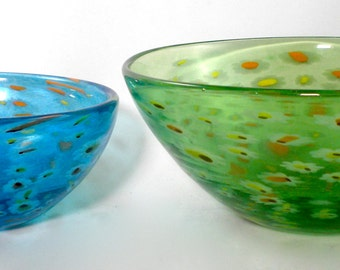 Millefiori Nesting Bowls- hand blown glass bowls speckled with tiny flowers, unique, colorful, bright, blue and green, great gift idea