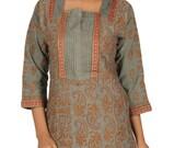 India Lucknow  Ladies ethnic Chikankari Hand Embroidery kurta/ Kurtis/Top/Tunic  for comfortable summer wear women/ladies/girls