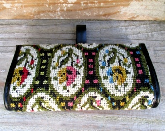 1970s carpet bag tapestry style purse / clutch
