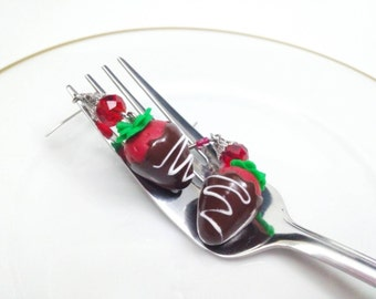 Chocolate Covered Strawberry Earrings, Valentine's Desserts, Food Jewelry, Food Earrings, Strawberry Earrings, Valentine's Jewelry, Handmade