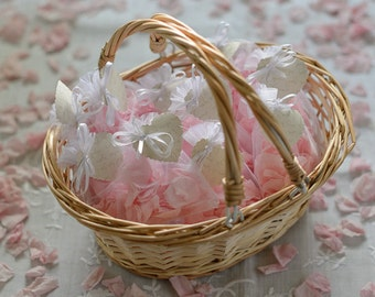 Flower Girl Basket With Natural Pink Rose Petal Confetti | Wedding Flower Girl Basket | Confetti Basket Hand Decorated | Natural Petals