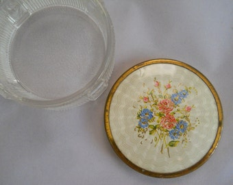 Cosmetics Jar, Pressed Glass Jar with Cover, Mid-century Glass, Decorative Jar