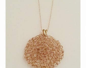 14K Goldfield Pendant made by Knitting With Delicate 14K CHain
