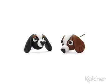 Handmade Cavalier King Charles Spaniel Stud Earrings - Available in Blenheim (Chestnut and White) or Tricolor (Black/White/Tan)