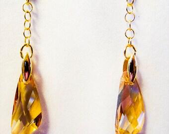 SWAROVSKI EARRINGS, Swarovski jewelry, Golden Shadow pendants, Golden Shadow jewelry, bridal earrings, bridal jewelry, wedding - 1206W