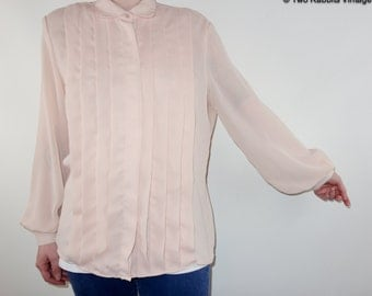 1980s lightest pink sheer chiffon secretary blouse with pleated front detail full button-up XS-M MINIMALIST pastel shirt 1980s