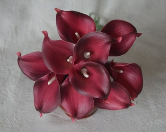 10 Lighter Burgundy Calla Lilies Real Touch Flowers For Silk Wedding Bouquets, Centerpieces, Wedding Decorations