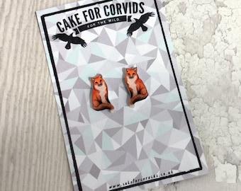Fox Earrings Stud British Native Wildlife Species