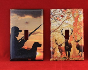 Hunting, Deer, Fishing  -  Custom made decoupaged light switch cover