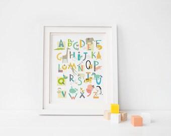 ABC Wall art - Alphabet art - Animal nursery - abc nursery print - gender neutral - unisex nursery wall print - alphabet letters (1000)