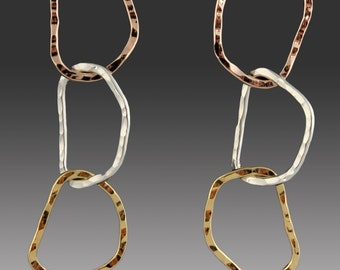3-Tone Chain Earrings Silver, Gold and Rose Gold Hand Hammered Hoops