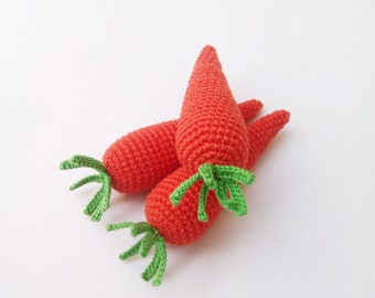 1 Pcs - Crochet carrot, teether teeth, play food, kitchen decoration, eco-friendly toys,Pretend play - Play food - Teething