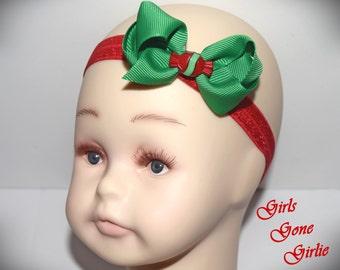 Baby Christmas headband , kids Christmas , red and green , Christmas hair bow , toddler Christmas , mini bow , baby headband , 2.5 inch