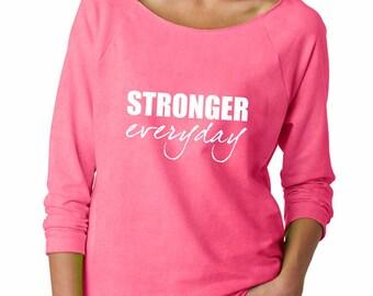 Stronger Everyday Sweatshirt. Super Soft & Lightweight Women's Raw Edge Boat Neck Terry Sweatshirt w 3/4 sleeves. Breast Cancer Shirt.