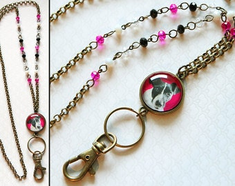 Antique bronze pet portrait lanyard necklace with your own pet's picture and pink, black, white & clear beads