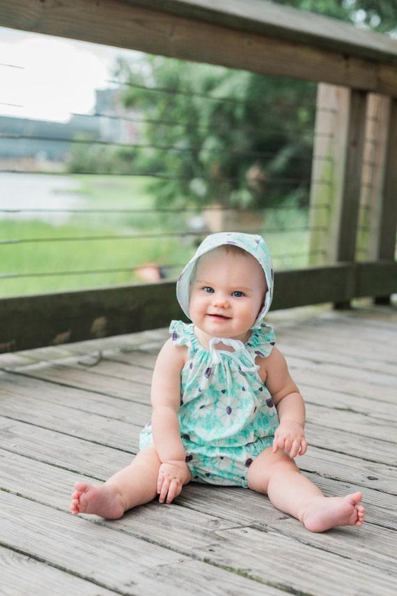 Mint Baby Romper Toddler Romper Mint Daisy Floral Romper Mint Modern Romper Mint Flutter Sleeve Summer Romper