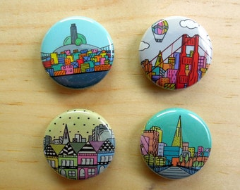 Set of 4 San Francisco circular buttons with metal pins by Scampi in SF