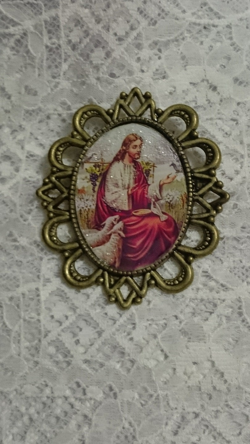 Brooch for easter christian religious gift jesus christ and sheep negle Image collections