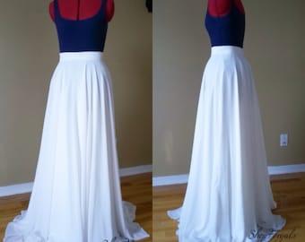 Boho weddings, Off White, maxi chiffon skirt, romantic bridesmaid, country wedding, long  white skirt, beach bridal skirt, floor length,