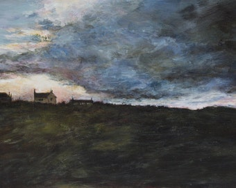 Northumberland Coast Atmospheric Skies Evening Sunset Landscape Art Print Bamburgh / Dunstanburgh Original Oil Landscape Coastal Painting