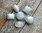 65 Cts Set of 6 Rainbow Moonstone cabochons different shape ring making wholesale many a lot