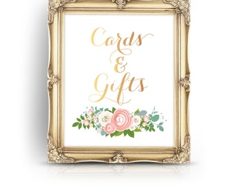 The JENNY . Cards & Gifts Sign Gift Table . Rose Gold Quartz Copper Calligraphy . White Roses Pink Blush Peonies Dusty Miller . Custom PDF