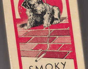 "Vintage Full Deck Scotty Dog ""Smoky"" Red Playing Cards Gilt Edge In Original Box"