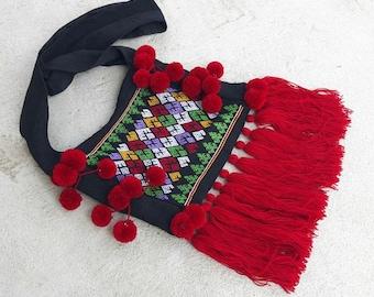 Unique Hobo Bag /Tribal Embroidery Hobo Bag, Karen Hobo Bag, Hill Tribe Textile Bag with Pom Pom, Shoulder Bag