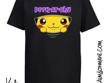 """Pikachu """"Peek-At-Chu"""" Pokemon T-shirt"""